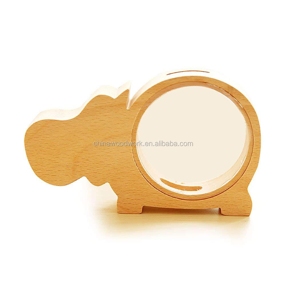 Wood Hippo Money Box Piggy Bank