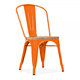 Orange vintage French Style antique Metal Side bistro dining Unique Bar Stools Industrial Chair With Natural Wood Seat