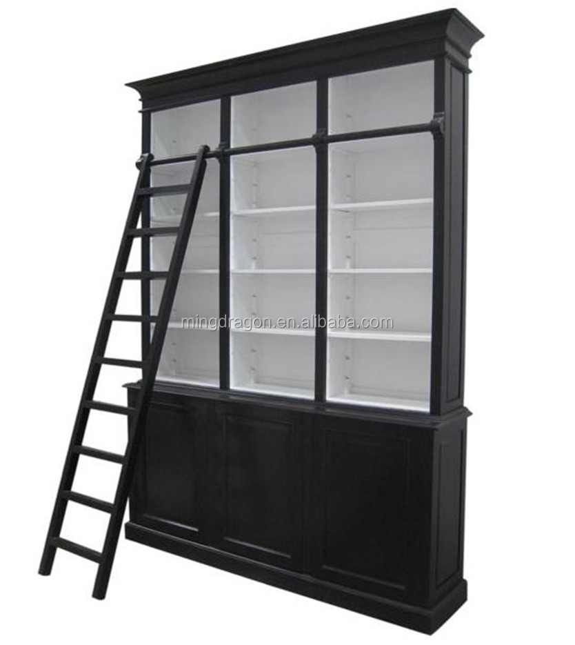 Anique Painting Reclaimed Wooden Bookcase With Ladder