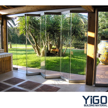 Frameless Glass Folding Door,Hydraulic Bi Fold Hangar Door - Buy ...