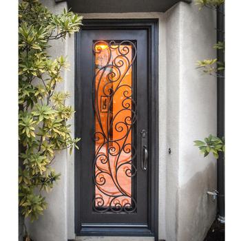 American Villa Main Entrance Flat Top Wrought Iron Single Door