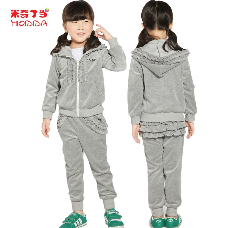 Soft Fabric Kids Garment Girls Trendy Wear grey/pink track suit for Children