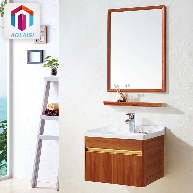 Aluminum Bathroom Vanity Unit With Mirror Wall Mounted Wash Basin Base  Wooden Vanity Cabinet