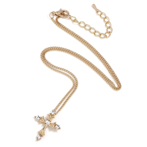 fashionable 18k gold Cross pendant necklace jewelry with crystal