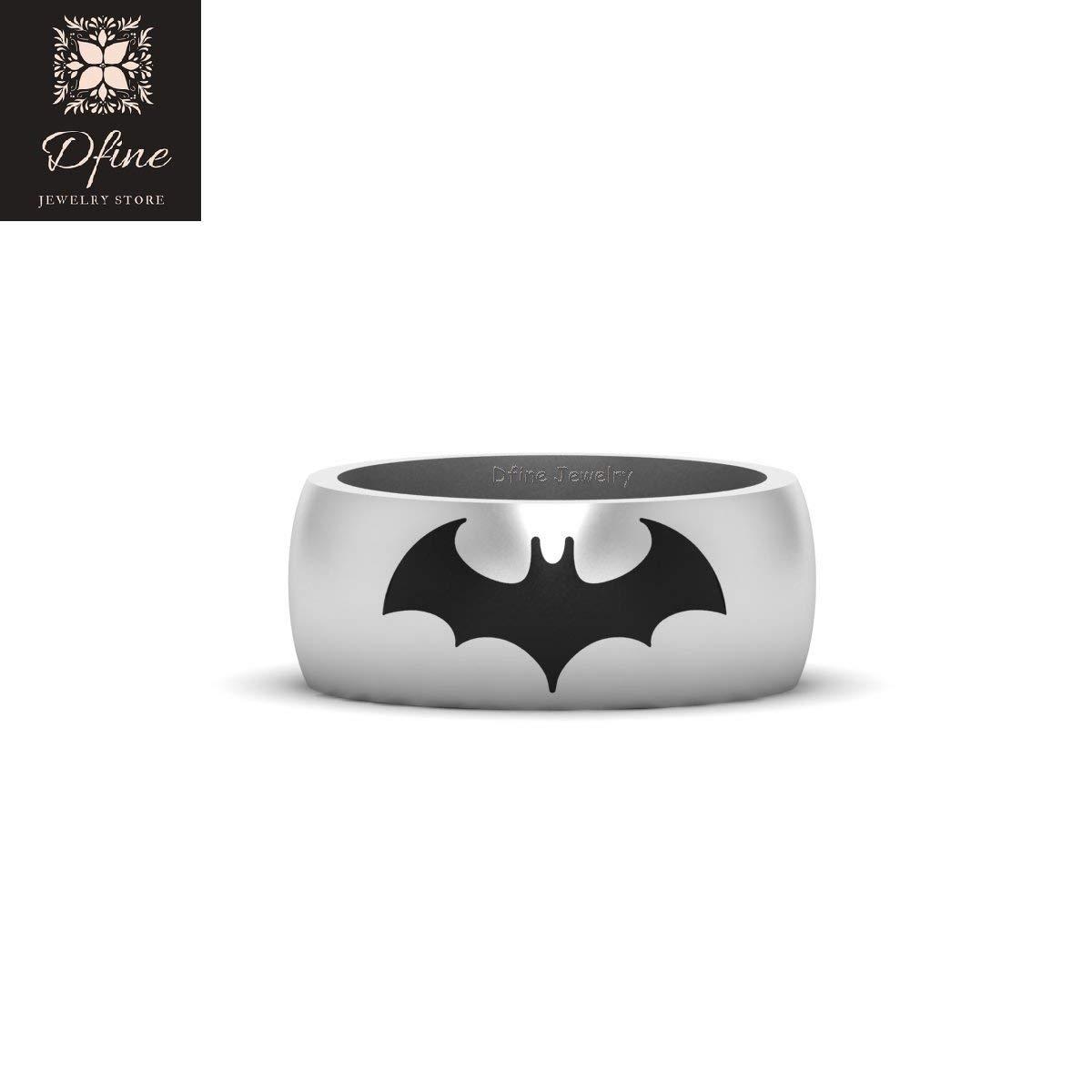 Sci Fi Dark Knight Movie Superhero Batman Inspired Mens Wedding Band Solid 14k White Gold