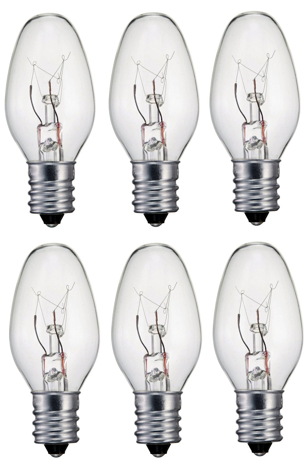 Creative Hobbies® Replacement Light Bulbs for Scentsy Plug-In Warmer Wax Diffuser and Salt Lamps - 15 Watt, Clear, Steady Burning, Individually Boxed, Case of 25 Bulbs