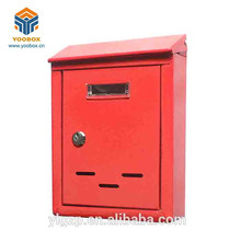 Decorative English Red Powder Coated Steel Post Mail Box