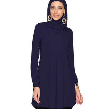 Customize Latest Malaysia Muslim Women Top Blouse Solid Color Islamic Tunic