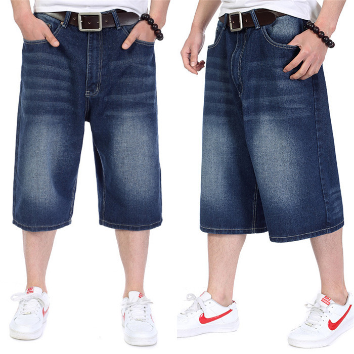 KLJR Men Loose Wide-Leg Hip Hop Big /& Tall Plus Size Denim Shorts Jeans