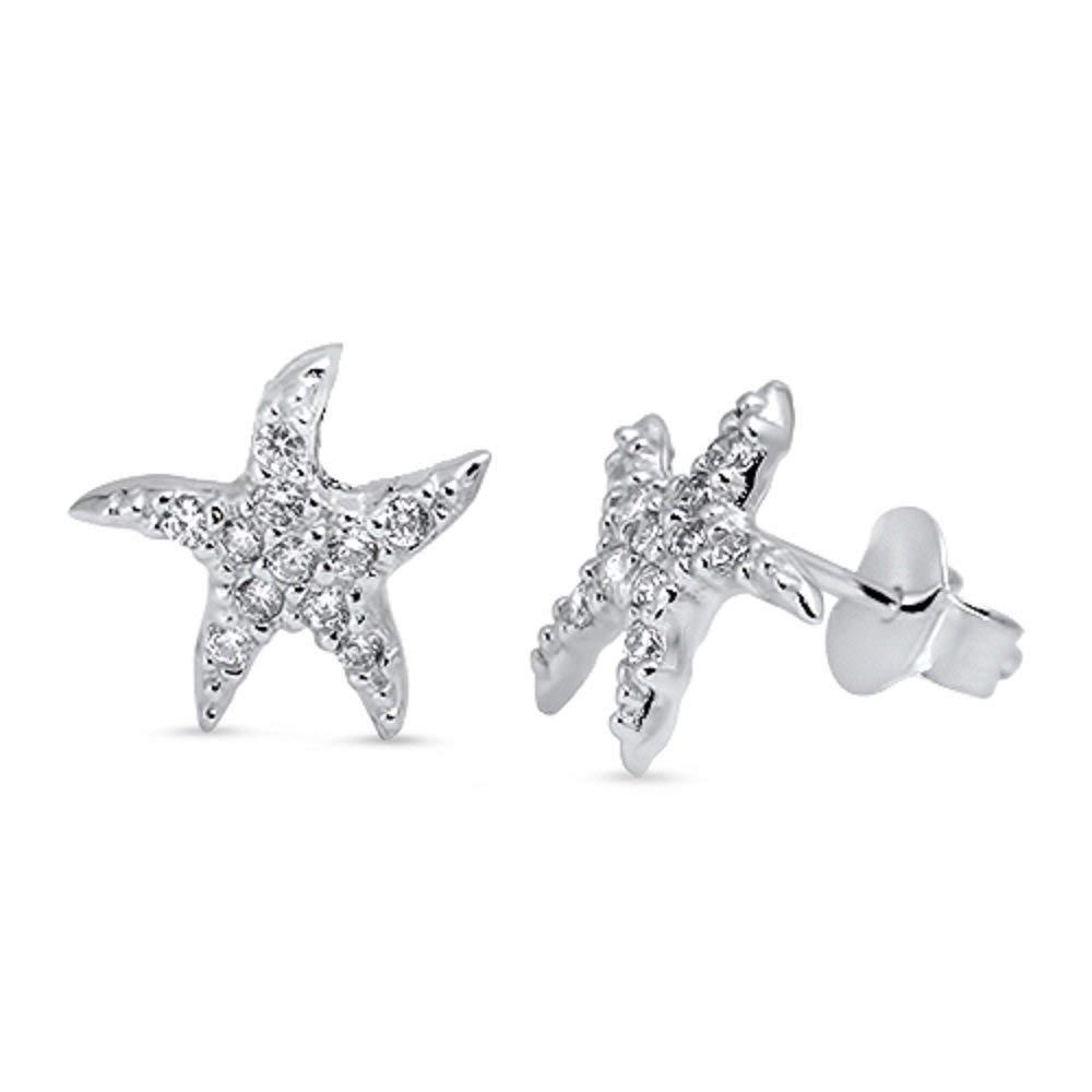 Genuine Sterling Silver 925 6mm CZ Marine Beach Starfish Pave Set Stud Earrings