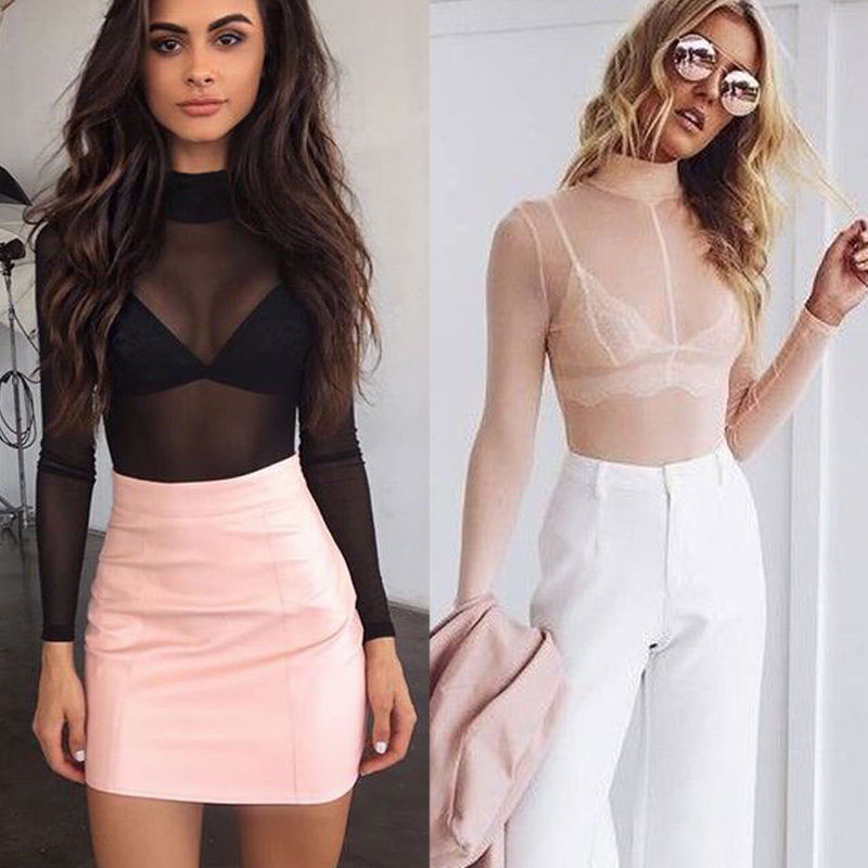 d030fedf Detail Feedback Questions about New Summer Women Lady See Through Sheer  Mesh Tops Long Sleeve Casual Party Transparent Shirt Blouse on  Aliexpress.com ...