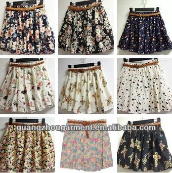 2f5404ecf04ef europa mujeres señoras estilo plisado gasa impresión faldas pantalones  cortos pantalones venta al por mayor mini