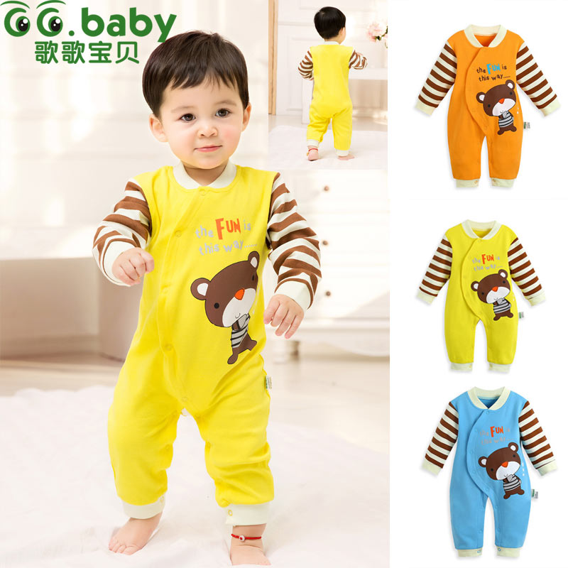 007453bb6c65f 2015 Newborn Baby Clothing Spring Autumn O-Neck Long Sleeve Single Breasted Cotton  Romper for 0-2 Year Old Boy Girl Hot Sale