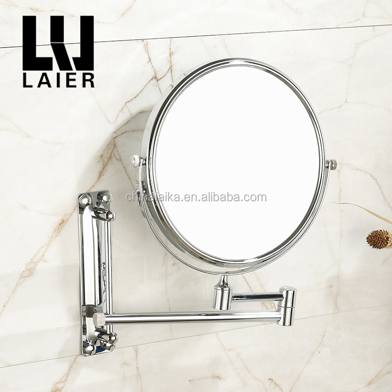 Trifold magnifying wall mounted swivel round mirror sanitary set vanity dressing bath mirror