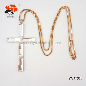 holy wedding gift lucky golden chin talisman pendant transparent jesus  cross necklace