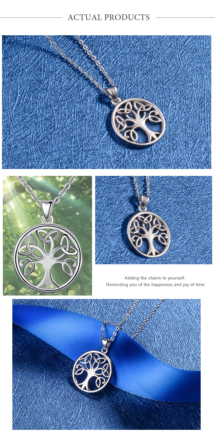 Women 925 sterling silver family celtic tree of life Round necklace pendant