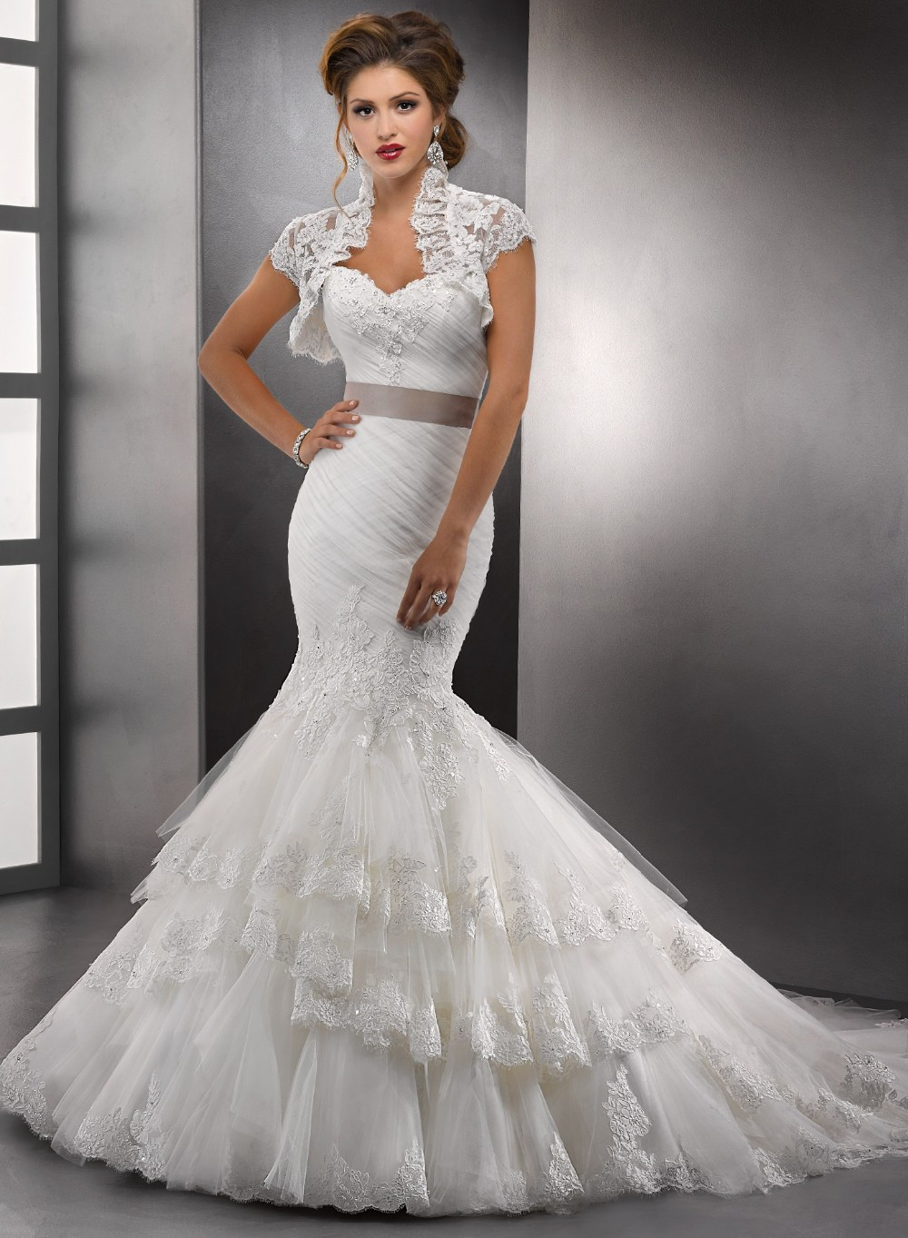 Romantic Ruched Strapless Mermaid Wedding Dress 2015 Lace ...