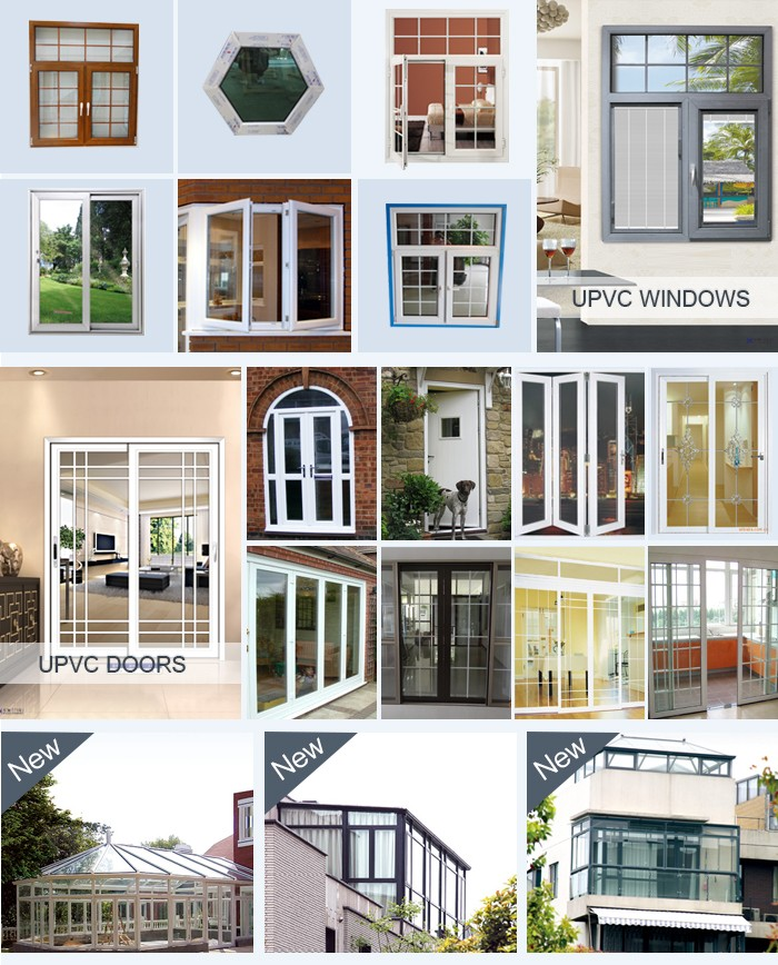 tempered glass pvc window profile 70 mm series casement swing french plastic pvc door frame