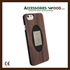 For iPhone 7 Wood Phone Case with PC, Laser Custom Logo Wooden Bamboo Cell Phone Case Custom