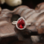 2016 new design product fashion one big red stone ring , 925 sterling silver