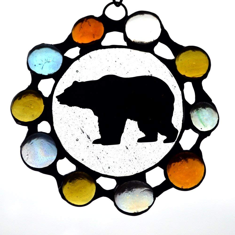 Stained Glass Bear Ornament with Marble Glass Border, Suncatcher