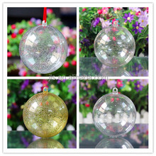 Silver powder openable plastic ball ornament transparent
