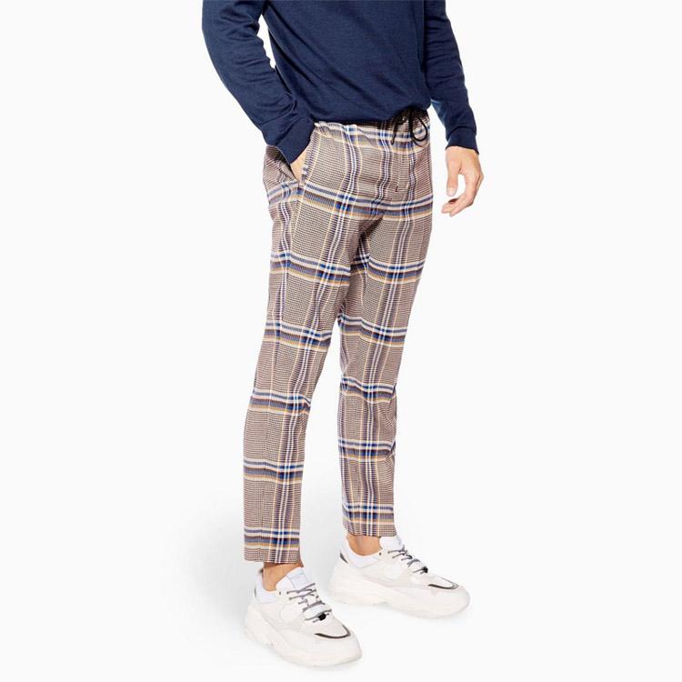 थोक के लिए लोचदार कमर पतला प्लेड ट्रैक पैंट पुरुषों