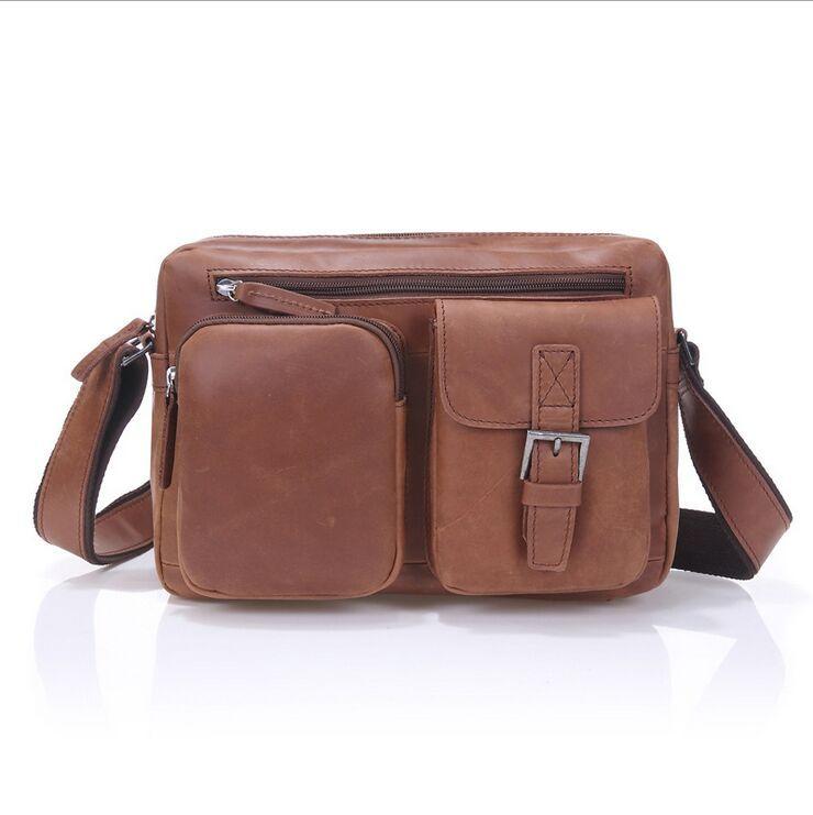 9ba67aad55 Get Quotations · Men Shoulder Bag Messenger 100% Cowhide M S Dull Polish  Leather High Quality Message Bag Selected