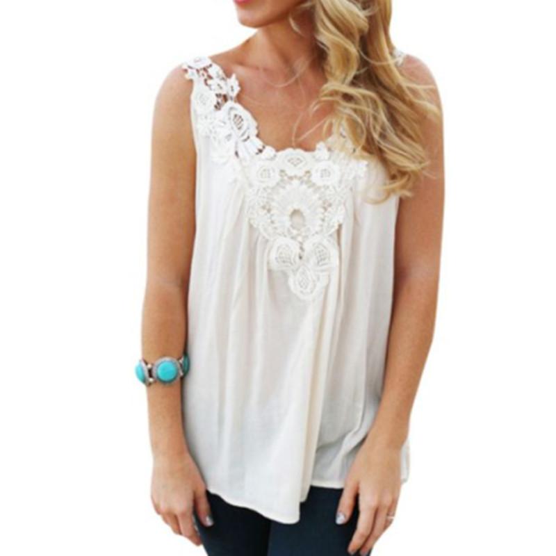 24d117e0267f2 Blusas femininas 2015 Plus Size Summer Sleeveless Lace Flower Crochet Top  Cotton Shirt Women Casual Loose