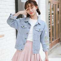 New Arrive Autumn Ladies Denim Jacket Women Wear Soft Cotton Embroidered Denim Coat