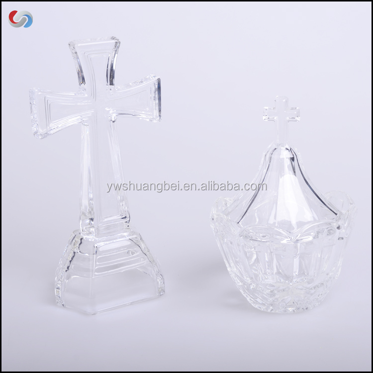 Glass Votive Candle Holder/Candlestick With Cross Shape Parts For Temple