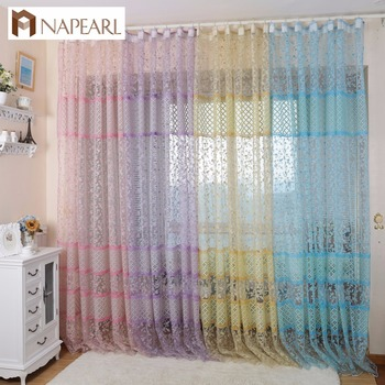 NAPEARL Floral Design Home Decor Sheer Blinds Used For Living Room Curtains