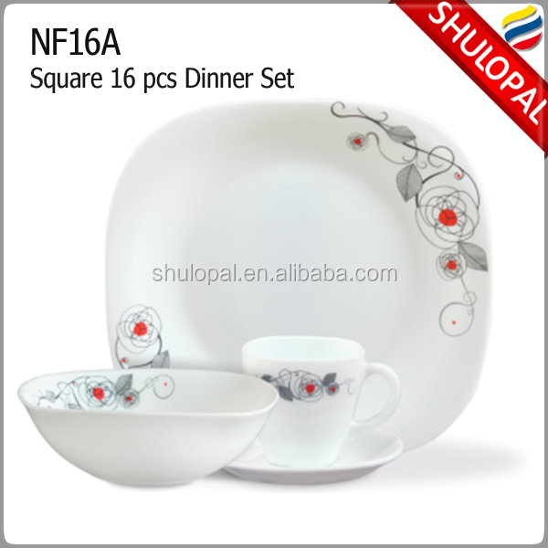 Square Opal Glass 16pcs dinner set