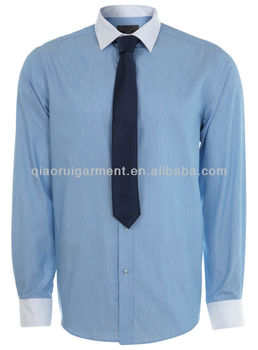 Mens Slim Fit White Contrast Collar And Cuff Dress Shirt
