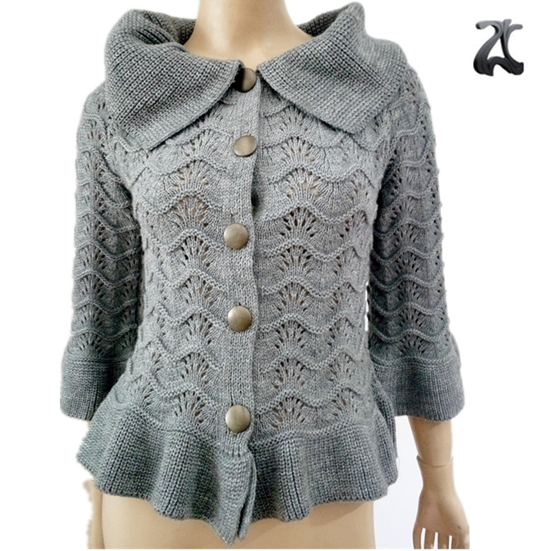 New Korean stylish ladies fancy gray lapel ruffle knitting pattern cardigan  sweaters design for women