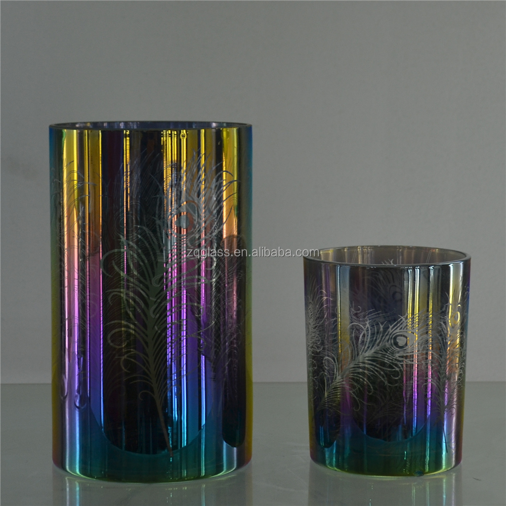Luster Peacock Feather Rainbow Color Ion Plating Electroplate Electroplating Highball Hiball Hi Ball High Ball Glass Cup Glasses