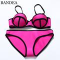 2016 sexy Women Push Up Neoprene Bikini Set Neon Neoprene Swimwear Underwire Swimsuit Biquini Maillot De