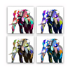 Acrylic Elephant Painting Canvas Art Printing 4-Panel Animal Painting Giclee Print Fashion Stretched Home Wall Decoration
