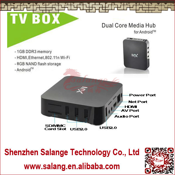 2014 Hot Selling Made in China Amlogic 8726 Mx m6 Cortex a9 Dual Core Android Smart Tv Box Support External 3G Donge By Salange