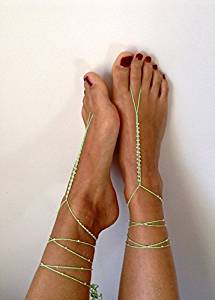 Green Wedding Sandals,Wedding Accessory,Sexy Beach Sandals, Crochet Barefoot Sandals, Barefoot Sandals , Crochet Anklet, Sexy Lace Sandals,Beach,Wedding Footwear, Bridesmaid Sandals (Green-02)