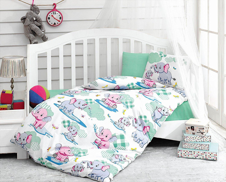 LaModaHome 5 Pcs Baby Elephant Water Fun Pink Blue Jungle Butterfly Cloud Toddler Cotton Bedding COTTON COMFORTER Set, Turkey 100% Cotton Nursery [with COTTON Quilt/Comforter]