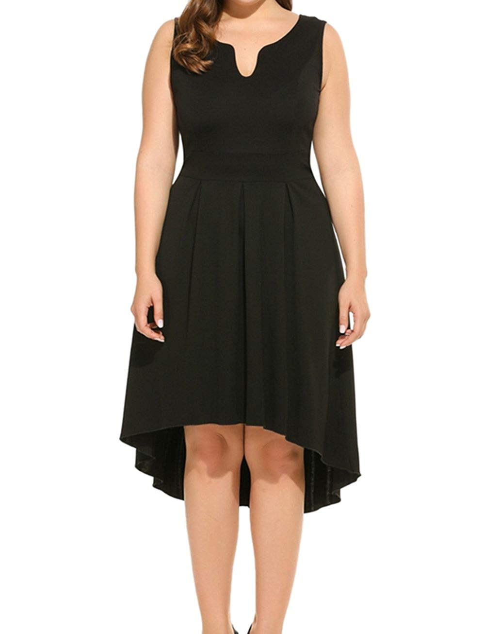 476090bba87 Get Quotations · Kancystore Women s Plus Size Fit and Flare V-Neck  Sleevless Dress High Low Cocktail Party