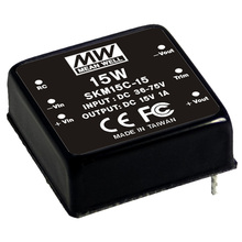 MeanWell Power Supply 15W DC/DC Converter regulated Single Output SKM15B-15/dc dc converters 24v to 15v