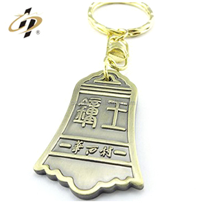 Promotional custom cheap antique bronze bell clocks shape keychain