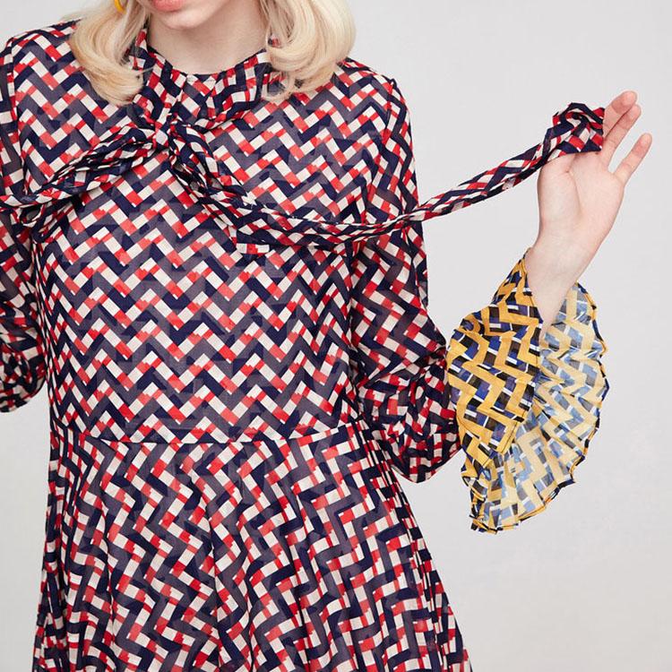 Desain Eropa Modis Musim Panas Sutra Pakaian Wanita Dress Office Lady Memakai Gaun