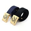 custom design printing logo fabric cotton webbing waist men belts with fashion buckle