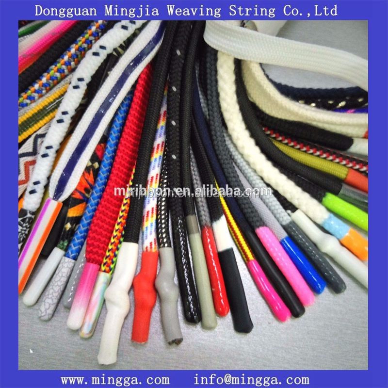 wholesale garment accessory custom logo polyester cord with metal aglets