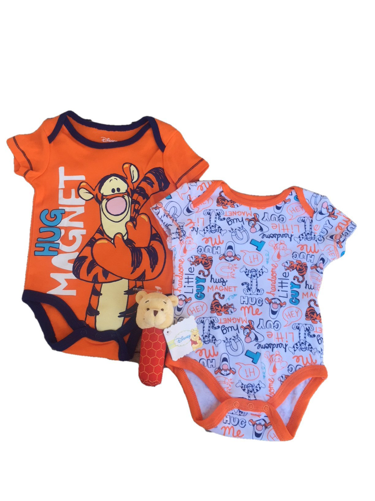 DB Disney Baby Infant Tigger 2-Pack Creeper Bodysuit and Winnie The Pooh Stick Rattle Set (6-9 Months)