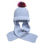 Myfur Newest Design Baby Cotton Hat and Scarf with Real Raccoon Fur Pom Pom