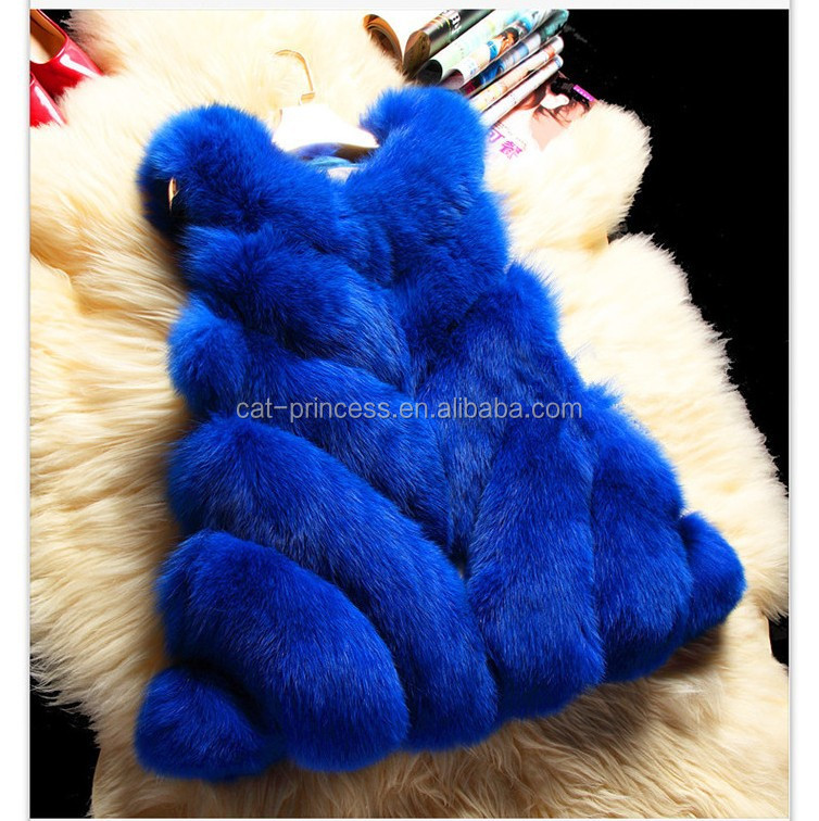 Luxury New Baby Blue Fox Fur Coat Woman Real Fur Coat For Winter Warm Plus Size